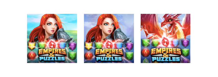 Empires & puzzles icon A/B test 3