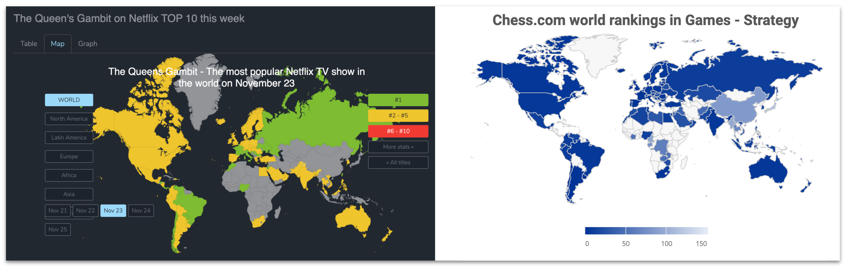 World maps of Netflix rankings & iOS game strategy category rankings