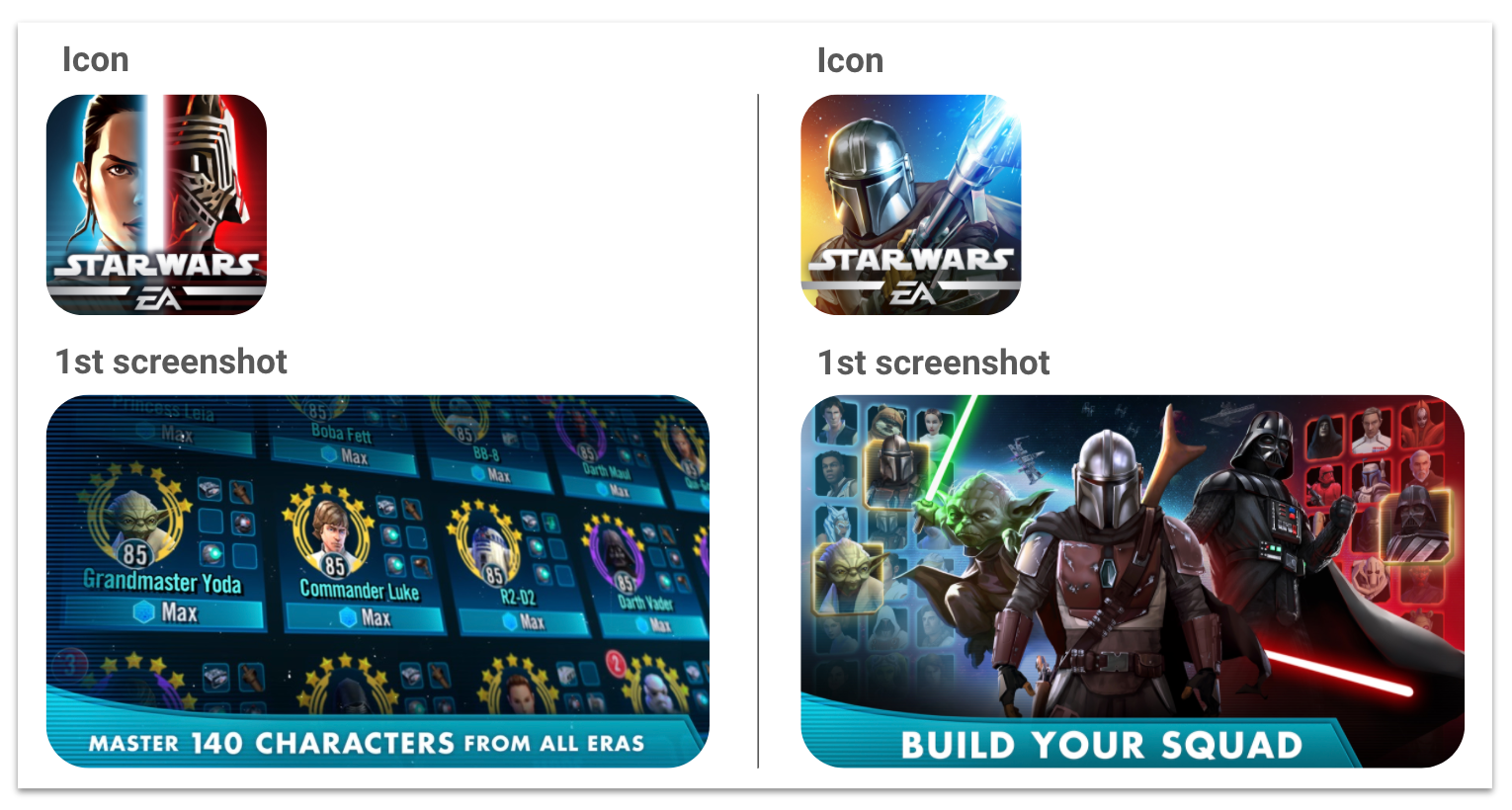 Creative changes for Star Wars: Galaxy of Heroes iOS