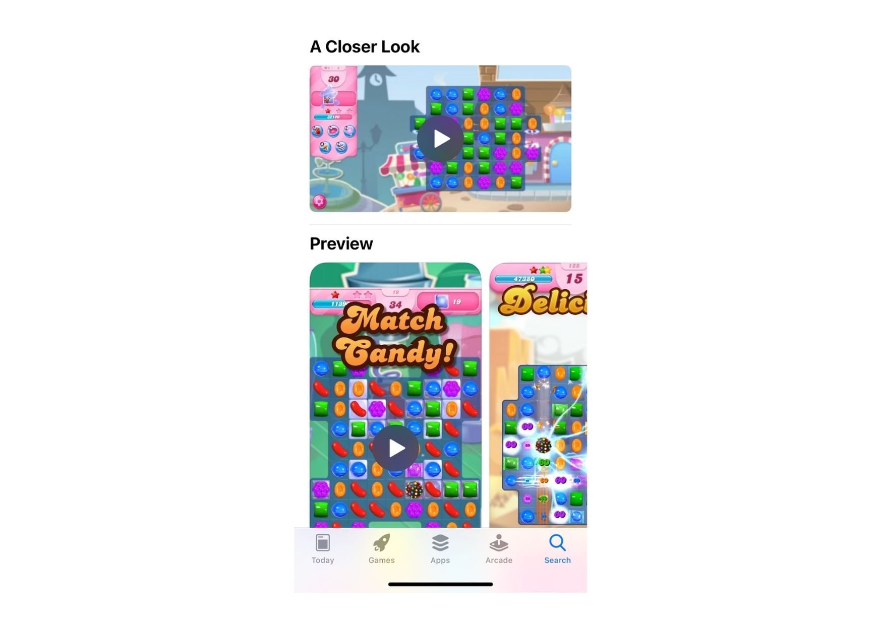 Example of Candy Crush Saga on how Apple displays a combination of both portrait and landscape videos on the app product page