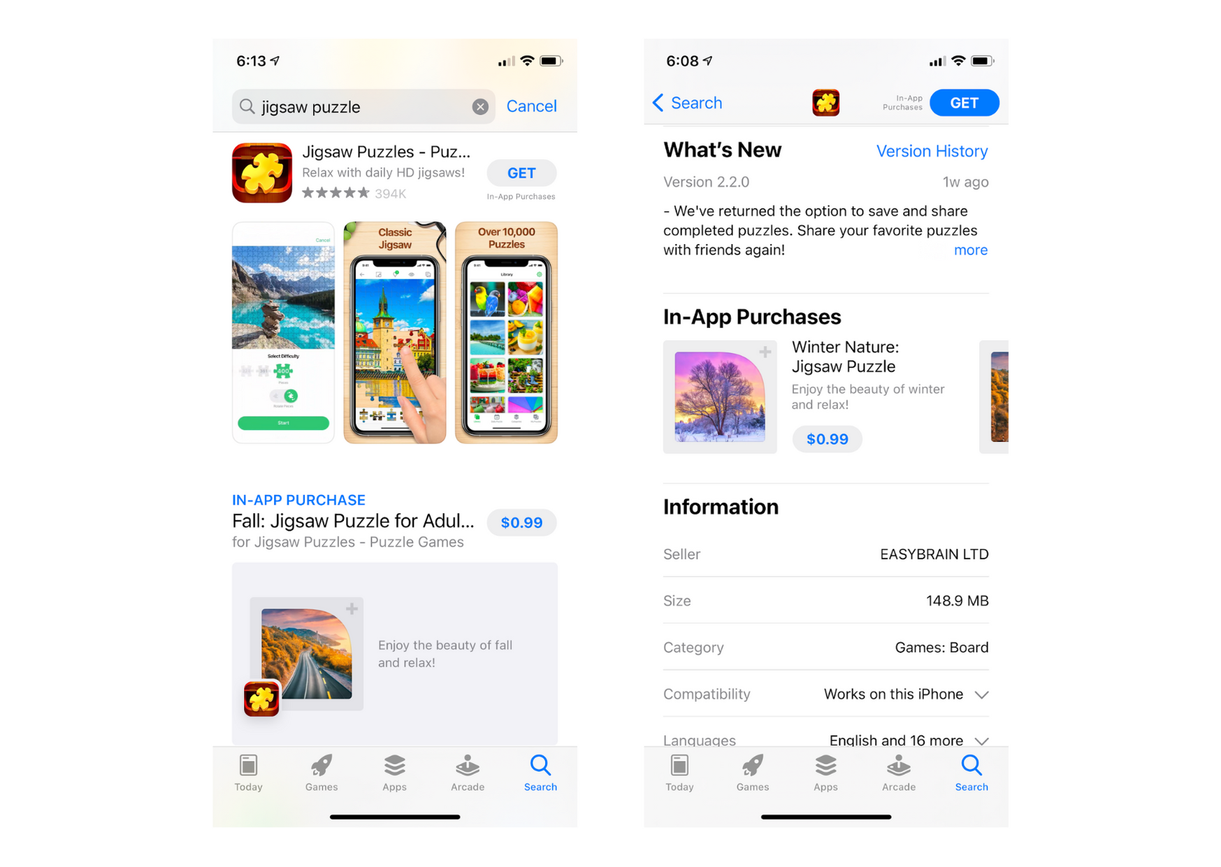 Example of how in-app purchases appear in the search results and on the app page in the Apple App Store