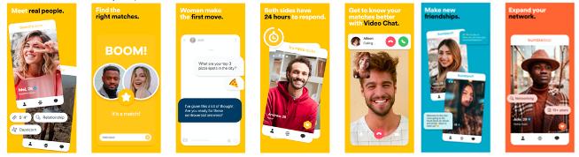 Bumble's latest screenshots in the US App Store taken from AppTweak.