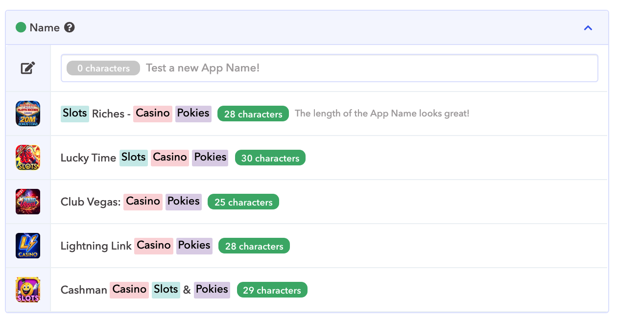 Slots Gaming apps' titles localized for the Australian market (iOS)