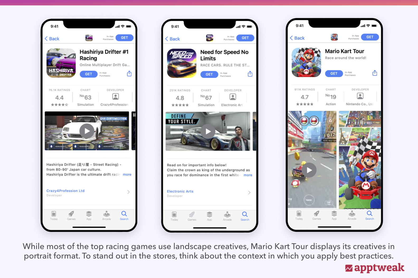 While most of the top racing games use landscape creatives, Mario Kart Tour displays its creatives in portrait format. To stand out in the stores, think about the context in which you apply best practices.