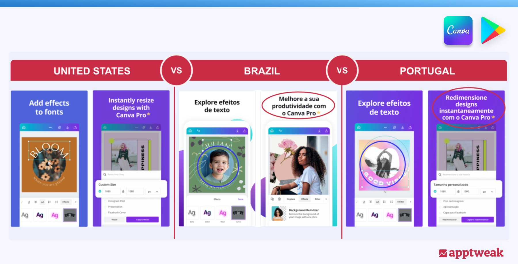 Comparison of Canva's Play Store screenshots in the US, Brazil and Portugal