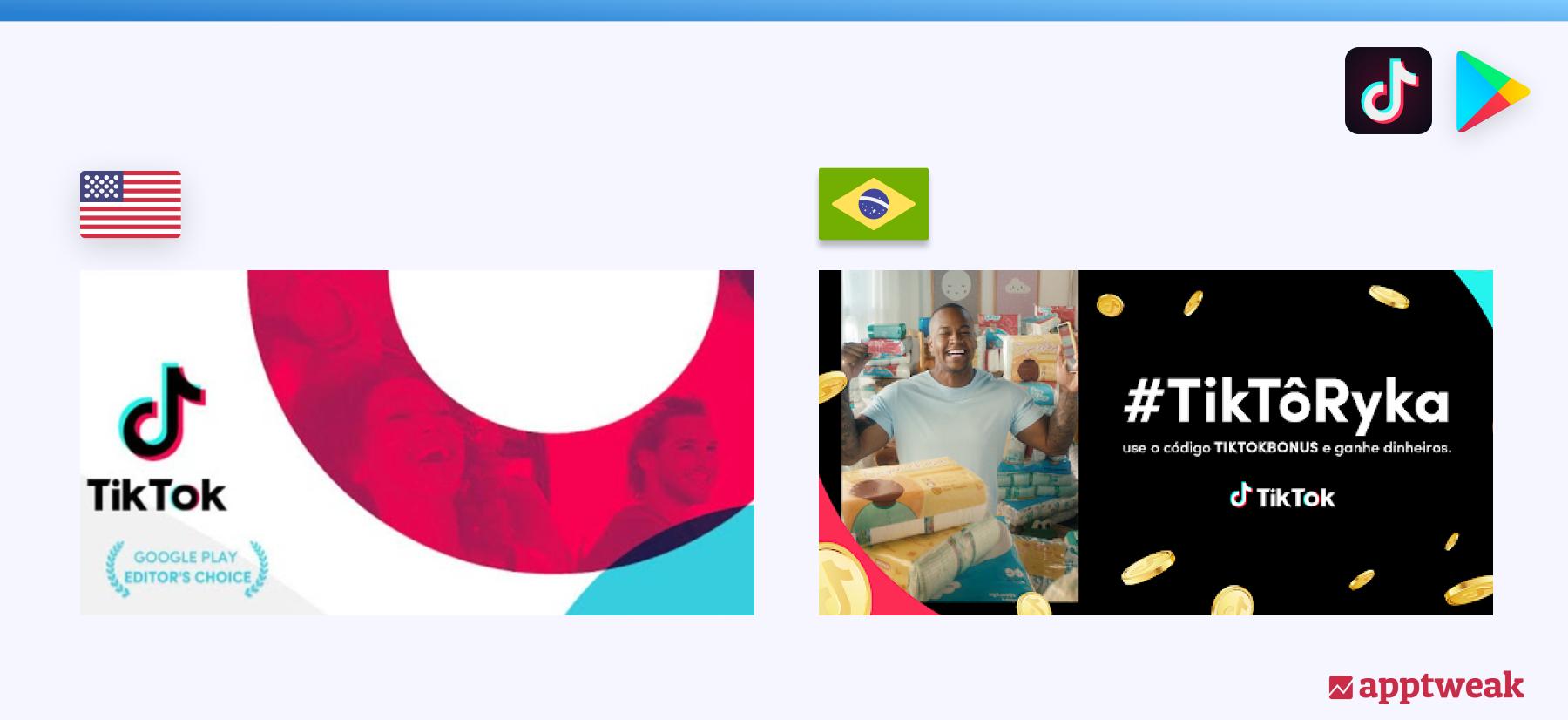 TikTok's Feature Graphic in the Brazilian Google Play Store, 2021