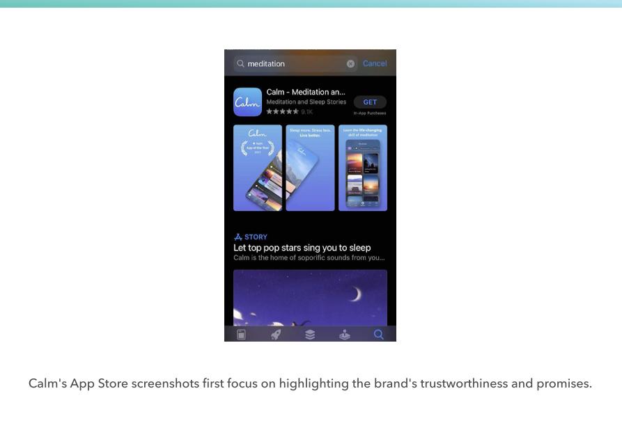 Screenshot of mobile app's Calm screenshots on the Apple App Store
