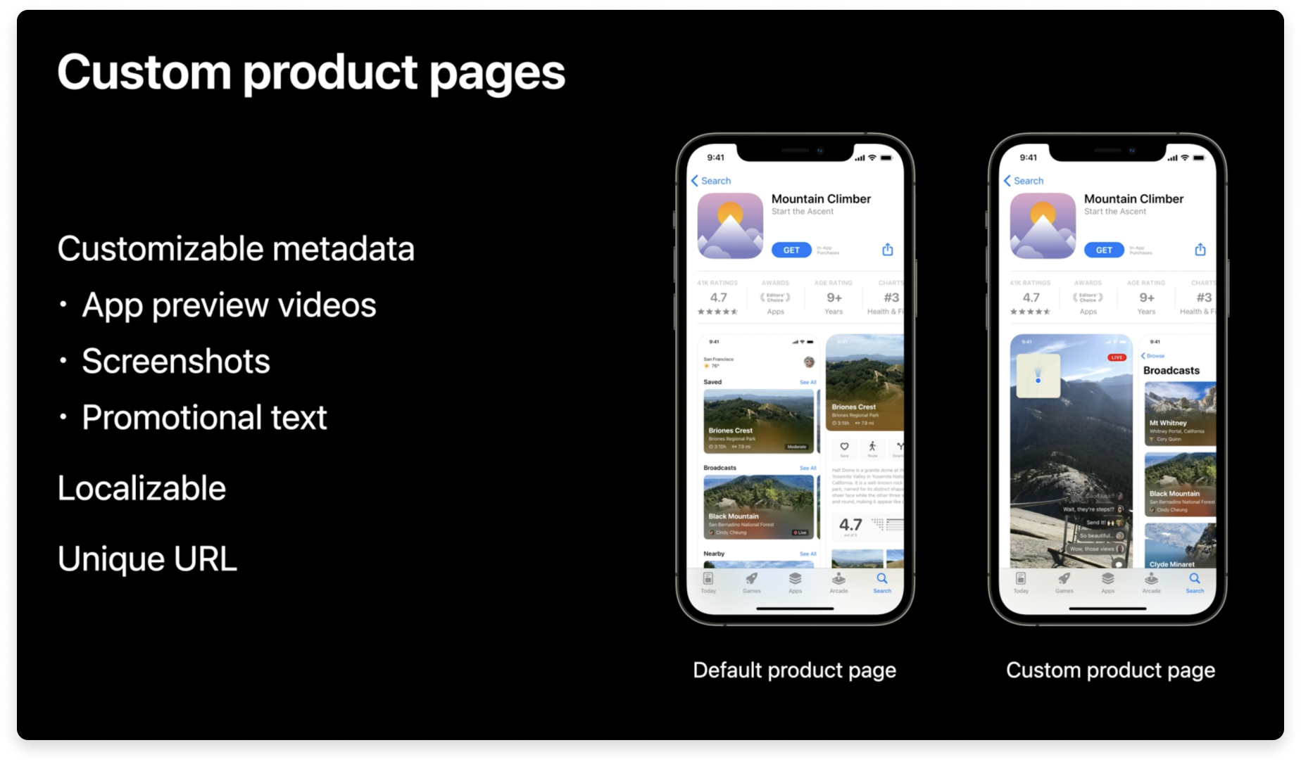 Apple's custom product pages will allow app marketers to customize their app preview videos, screenshots, and/or promotional text on the App Store. They will be localizable and accessible via a unique URL.