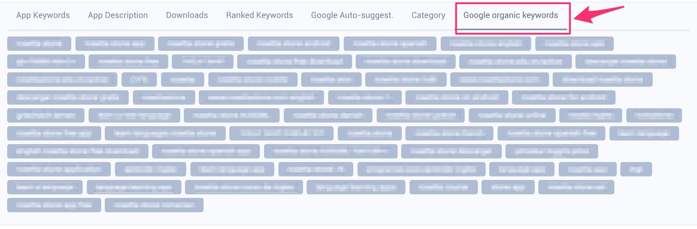 Google Search Organic Keywords