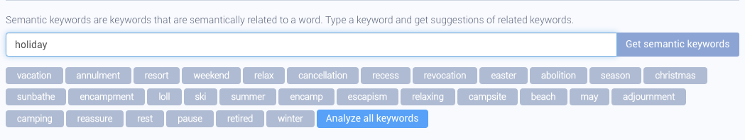 "AppTweak Keyword Research and Suggestion Tool - Related Keywords for ""holiday"""